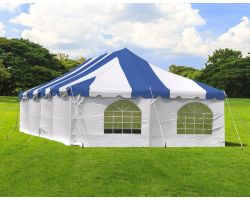20' X 40' Commercial Steel Pole Tent with Sidewalls - Blue