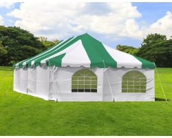 20' X 40' Commercial Steel Pole Tent with Sidewalls - Green