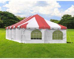 20' X 40' Commercial Steel Pole Tent with Sidewalls - Red