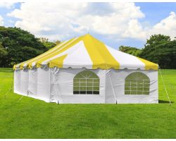 20' X 40' Commercial Steel Pole Tent with Sidewalls - Yellow