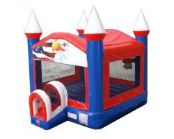 Inflatable Bounce House, Patriotic Red, White, & Blue