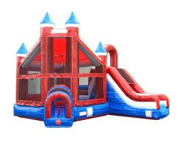Deluxe Inflatable Bounce House with Slide, Red White Blue