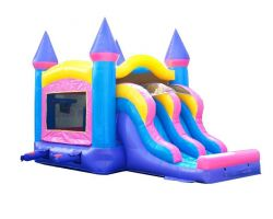 Inflatable Bounce House with Double Lane Slide, Pink