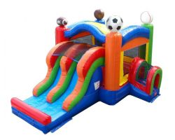 Inflatable Bounce House with Double Lane Slide, Sports