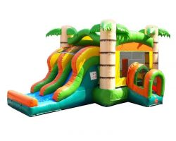 Inflatable Bounce House with Double Lane Slide, Tropical