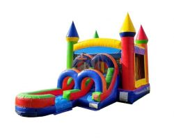 Inflatable Water Bounce House with Slide, Rainbow