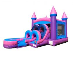 Inflatable Water Bounce House with Slide, Pink