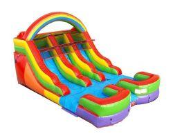 12' Double Lane Inflatable Water Slide, Rainbow